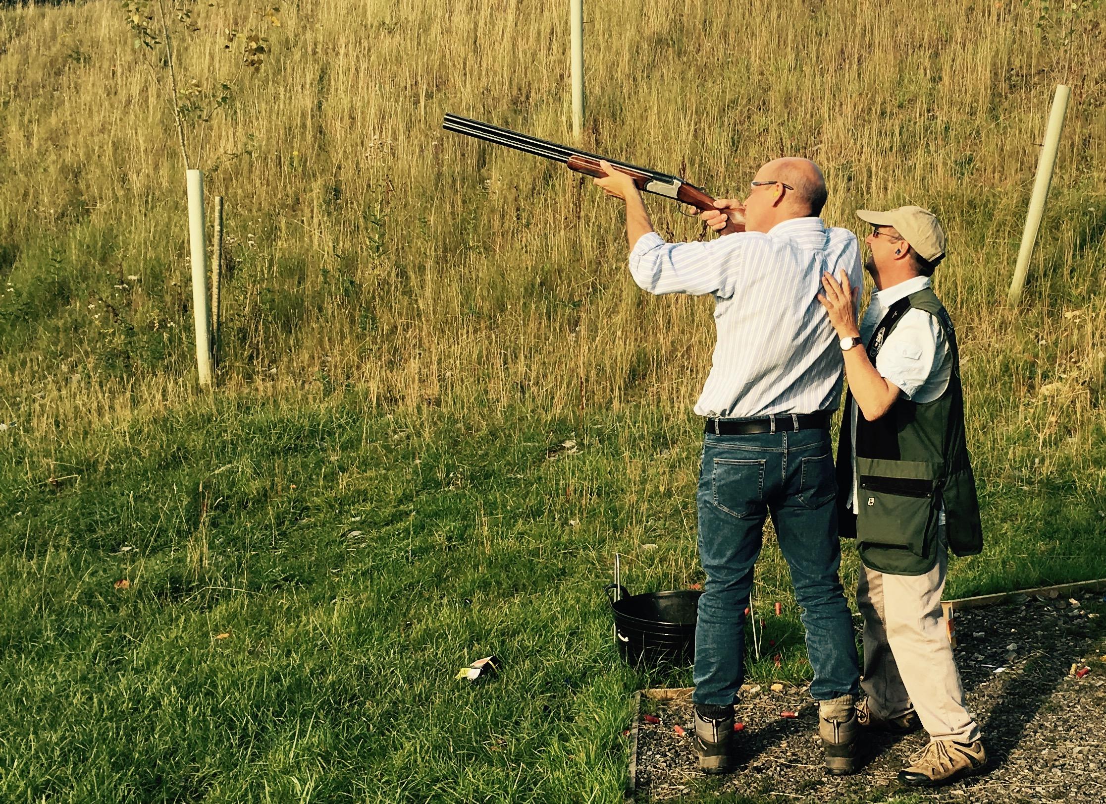 QS F.D Tony Daly taking aim under instruction